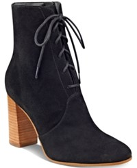 Marc Fisher Edina Block Heel Lace Up Ankle Booties Women's Shoes Black
