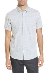 Ted Baker Big And Tall London Narntt Extra Slim Fit Short Sleeve Sport Shirt White