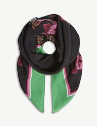 Sandro Square Printed Silk Scarf Green
