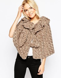 Liquorish Faux Fur Poncho Cape Grey