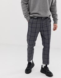 Weekday Charlie Check Trousers In Grey And Blue