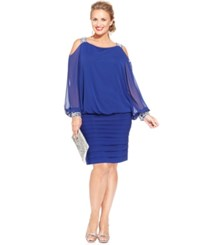 Betsy And Adam Plus Size Cold Shoulder Embellished Blouson Dress