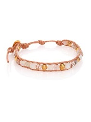 Chan Luu Opal Mother Of Pearl Crystal And Leather Beaded Wrap Bracelet Gold Multi