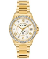 Bulova Women's Marine Star Diamond Accent Gold Tone Stainless Steel Bracelet Watch 32Mm 98R235 No Color