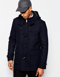 Selected Homme Wool Duffle Coat With Check Lining Navy