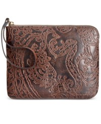 Patricia Nash Burnished Tooled Lace Cassini Wristlet Dark Brown