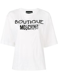 Boutique Moschino Pierced Logo T Shirt White