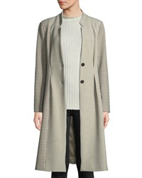 Joie Paiton Check Button Front Long Coat Brown