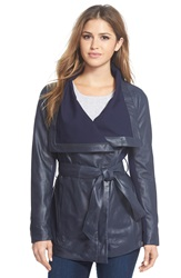 Elie Tahari 'Isabelle' Asymmetrical Knit Trim Leather Wrap Jacket Navy
