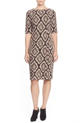 Pink Tartan Snakeskin Jacquard Shift Dress Oxblood