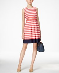 Charter Club Petite Striped Belted Dress Only At Macy's Crushed Peony Multi