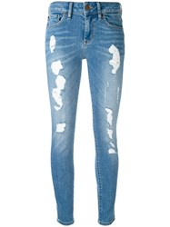 Tommy Hilfiger Ripped Cropped Skinny Jeans Women Cotton Polyester Spandex Elastane 27 Blue