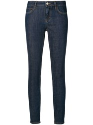 Dolce And Gabbana Rear Slogan Skinny Fit Jeans Blue