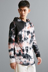 Feathers Crystal Wash Double Layer Hooded Long Sleeve Tee Black Multi