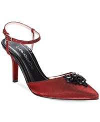 Caparros Riviera Mid Heel Evening Pumps Women's Shoes Red Shimmer