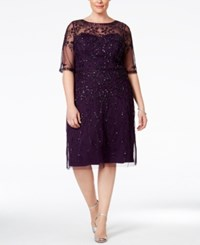 Adrianna Papell Plus Size Short Sleeve Beaded Dress Amethyst