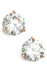 Nordstrom Women's Precious Metal Plated 2Ct Tw Cubic Zirconia Earrings Rose Gold