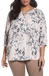 Nydj Plus Size Women's Henley Top Botanical Etchings