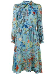 Etro Paisley And Floral Print Dress Blue