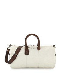 Cole Haan Two Tone Leather Duffle Bag White Brown