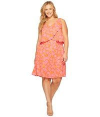 B Collection By Bobeau Curvy Plus Size Lane Double V Woven Dress Hot Coral Print Women's Dress Orange