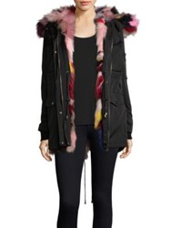 Jocelyn Fox Fur Trim Cargo Coat Black Multi