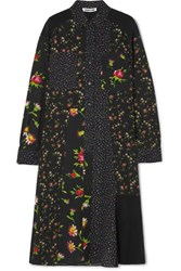 Mcq By Alexander Mcqueen Paneled Floral Print Georgette Shirt Dress Black