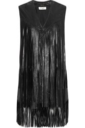 Saint Laurent Fringed Leather Vest Black
