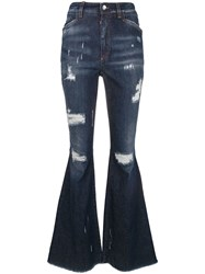 Dolce And Gabbana Ripped Detail Bootcut Jeans Blue