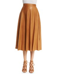 Ralph Lauren Collection Pleated Leather Midi Skirt Saddle Girl's Size 6 Eh Light Saddle