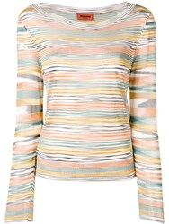 Missoni Multicoloured Stripe Knitted Top Orange
