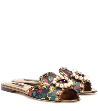 Dolce And Gabbana Embellished Brocade Slippers Multicoloured