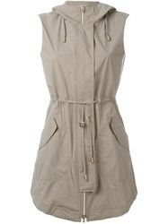 Herno Hooded Zipped Gilet Nude And Neutrals