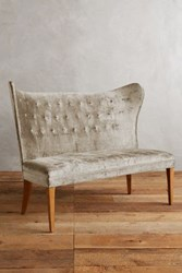 Anthropologie Slub Velvet Wingback Bench Armless Pearl