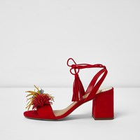 River Island Red Pom Pom Block Heel Sandals