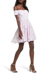 Soprano Women's Lace Off The Shoulder Fit And Flare Dress Lilac