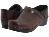 Sanita Professional Cabrio Brown Brush Off Leather Clog Shoes