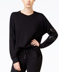 Chelsea Sky French Terry Sequin Detail Sweatshirt Only At Macy's Black
