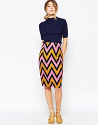 Traffic People Pencil Skirt In Chevron Print Multi