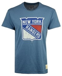 Retro Brand Men's New York Rangers First Line Logo T Shirt Blue