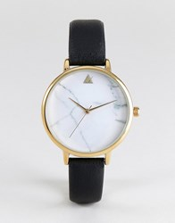 Asos Marble Face Black Strap Watch Gold