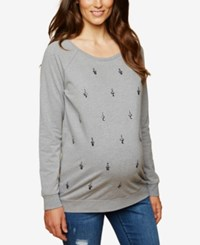 Motherhood Maternity French Terry Embellished Sweatshirt Grey