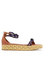 Malone Souliers Simona Rope Strap Flatform Suede Sandals Tan Navy