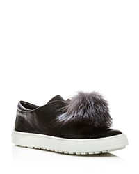 Delman Marli Leather And Marten Fur Pom Pom Sneakers Black