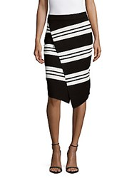 Leo And Sage Wrap Front Pencil Skirt Black White