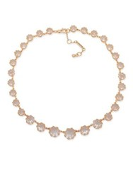 Jenny Packham Faceted Crystal Stone Collar Necklace Rose Gold