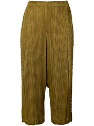 Issey Miyake Pleats Please By Pleated Cropped Trousers Women Polyester 4 Brown
