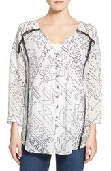 Women's Plenty By Tracy Reese 'Kurta' Pleated Button Front Blouse White Tribal