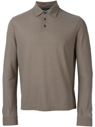 Zanone Longsleeved Polo Shirt Nude And Neutrals