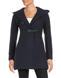 Jessica Simpson Wool Blend Tweed Toggle Coat Navy